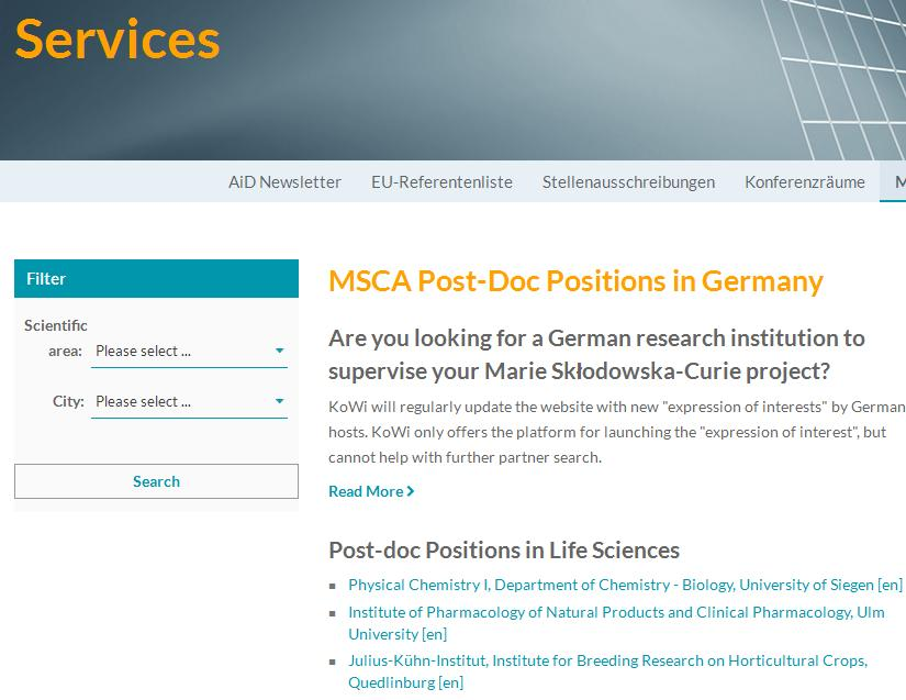 KoWi-Service: MSCA Host Offers for Postdocs Virtual Bulletin Board: Express your interest in hosting fellows (for Host