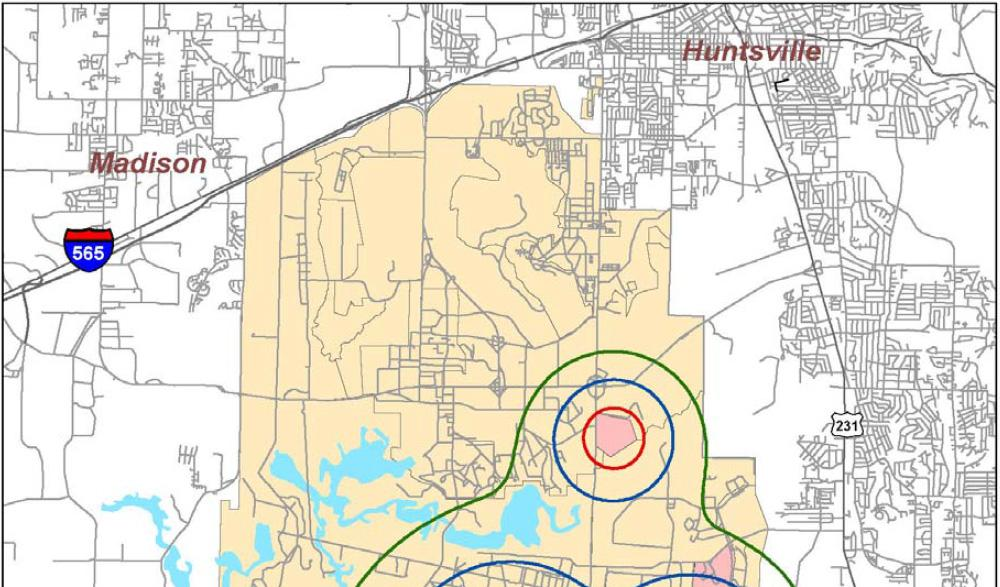 Figure 6 Redstone Arsenal Existing Demolition Noise Contours (Without OMMCS) Plus Proposed Increased (Doubled) ATF Activity