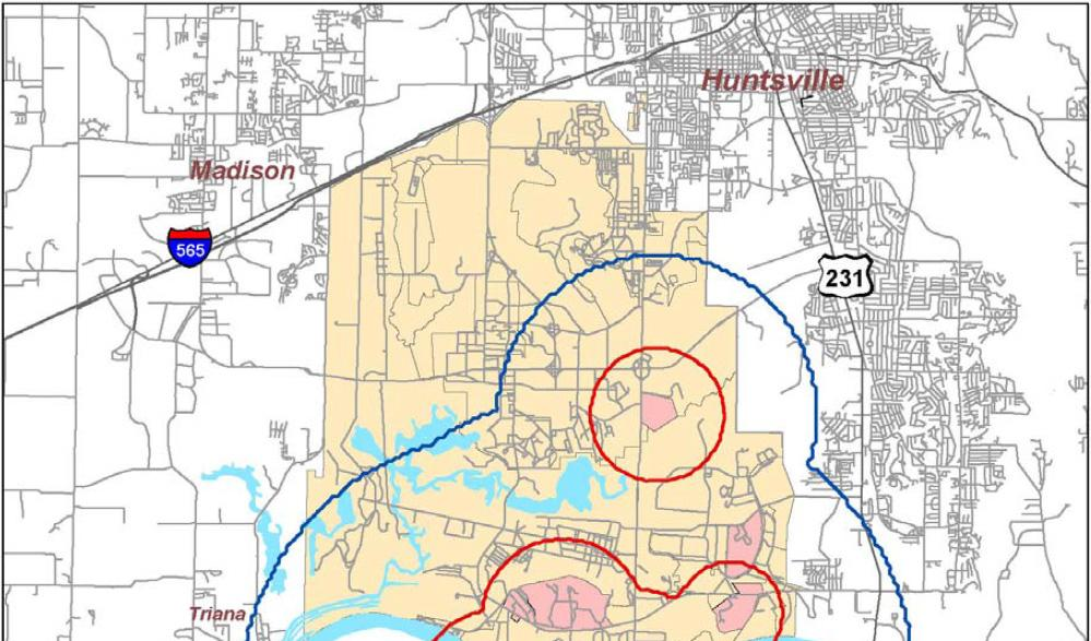 Figure 8 Redstone Arsenal Existing Demolition PK15(met) Noise Contours (Without OMMCS) Plus Proposed Increased (Doubled) ATF Activity