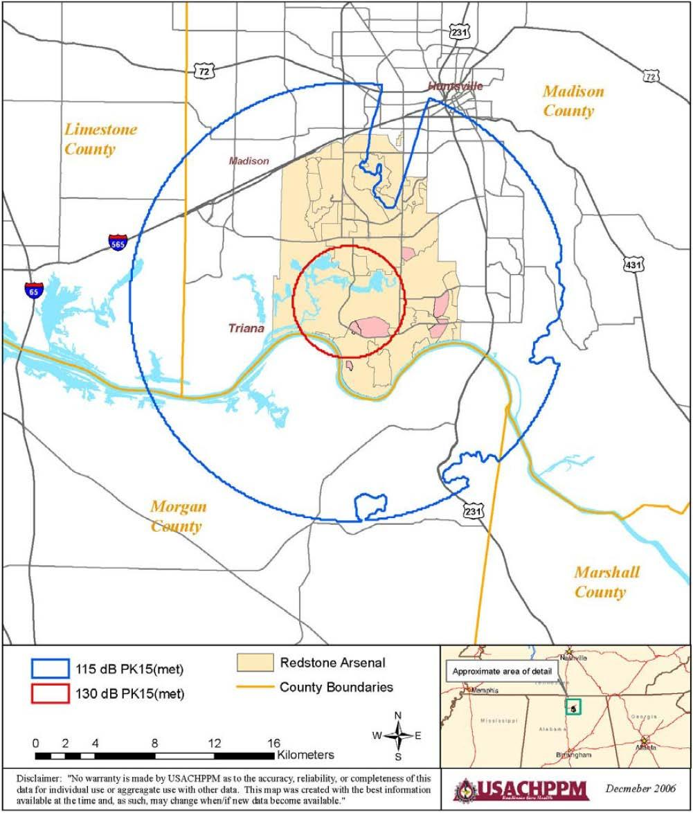 Figure 9 Redstone Arsenal Demolition PK15(met) Noise Contours for Proposed Car Bomb ATF Activity Source: