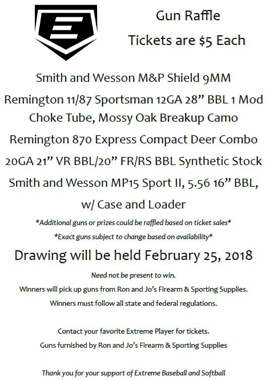 Gun Raffle Below is a sample Gun Raffle flyer. We ll have a new flyer with the exact guns listed closer to the drawing.