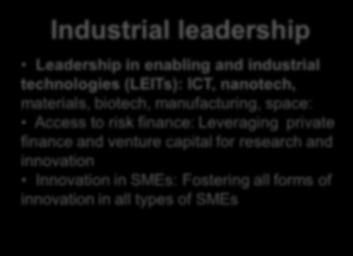 risk finance: Leveraging private finance and venture capital for research and innovation Innovation in SMEs: Fostering all forms of