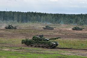 Photo courtesy of Ministry of Defense of the Russian Federation/Creative Commons 15 T-72B3M main battle tanks at the Zapad 2017 exercise, September 14, 2017. 5. I. G.