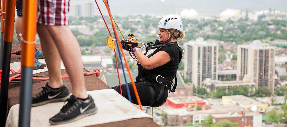 MEMORABLE MOMENTS Lorraine McGrattan, Manager of Volunteer Resources went over the edge for Big Brothers Big Sisters of Hamilton/Burlington.