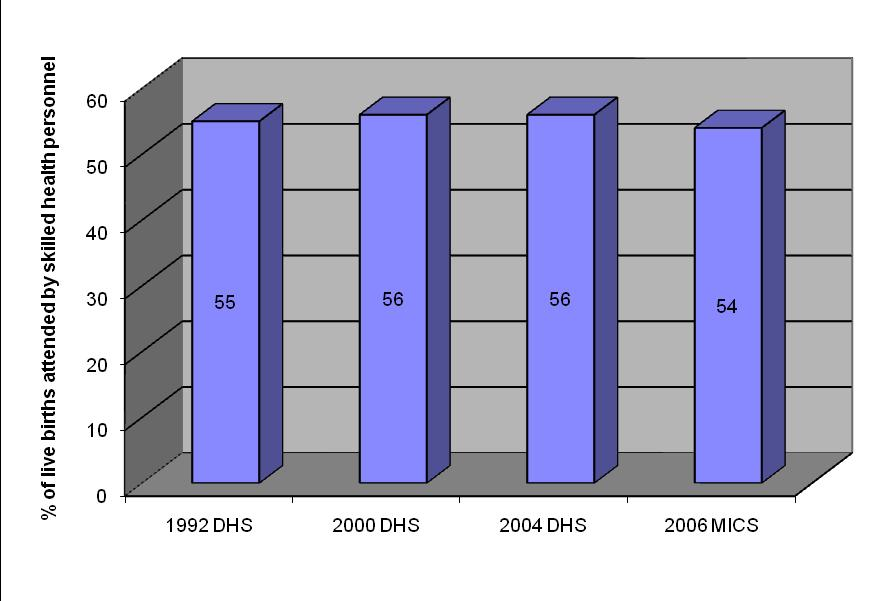 Table 3: Trends in the percentage of deliveries attended by SBA, 2005-2010 2005* 2006** 2007** 2008** 2009** 2010** 56% 61% 61% 54% 54% 54% * From Women of our World 2005 ** From State of the World