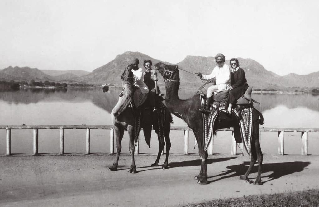 IN BRIEF STILL LIFE: The papers of Joan Bondurant (on camel on left), a spy who became an activist for social justice, are available to scholars.