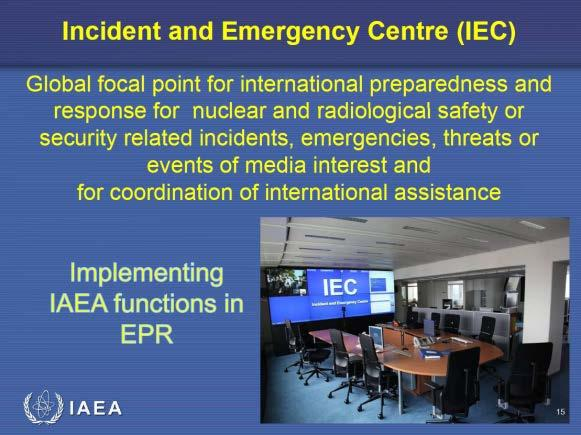 2-1 International Emergency Response Systems - IAEA 11 IAEA (International Atomic Energy Agency: an autonomous United Nations agency) Convention on Early Notification of a Nuclear Accident (adopted