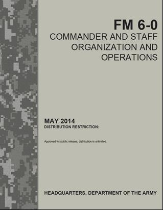References and further reading: 1. FM-6. Commander and staff organization and operatiopns. 2014 2. The Battle Staff SMAERTbook. Plan design. Prepare execute. Assess.Smart book. USA 2014. 3.