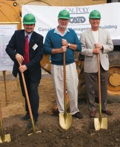 CM Department Head Allan Hauck (left) hoisted a shovel with former Department Heads Jim Rodger (center) and Bill Brown for the Groundbreaking of the Construction Innovations Center in May 2006.