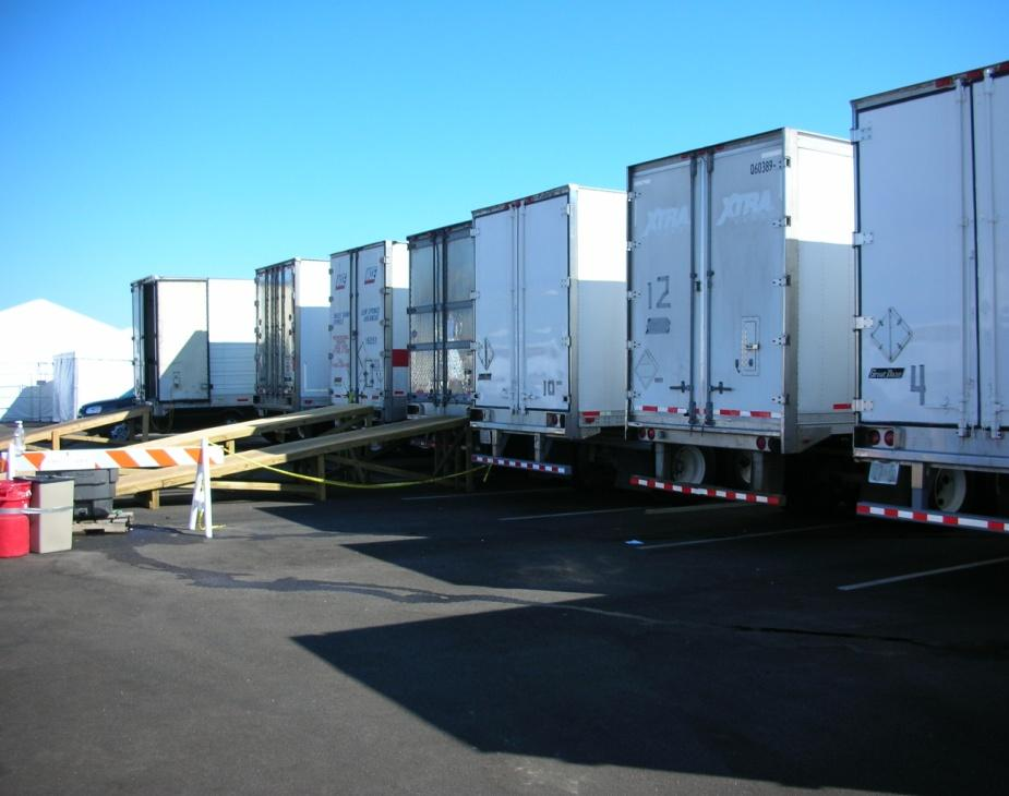 20 Morgue Operations Refrigerated trailers that are utilized to hold the