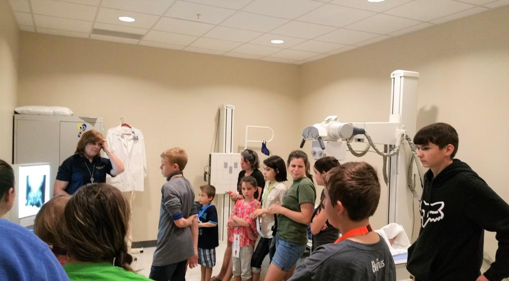 Pictured above and below is Vanessa Godfrey, Bluefield State College Clinical Track/Lecturer of Radiologic Technology, explaining the inner-workings of the Radiology