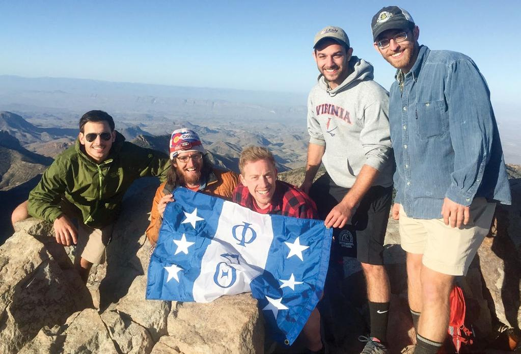 Darius with fellow Phi Delts at Big Bend National Park in Texas. for airline flights to parks not on the mainland.