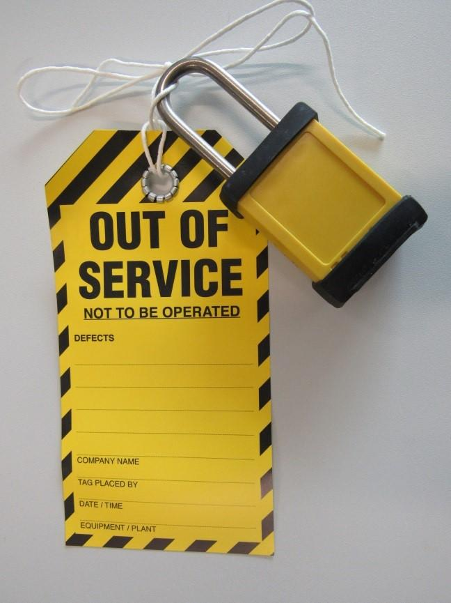 Out of service locks are yellow in colour and keyed to differ. The stock code to re-order out of service locks is 002924.