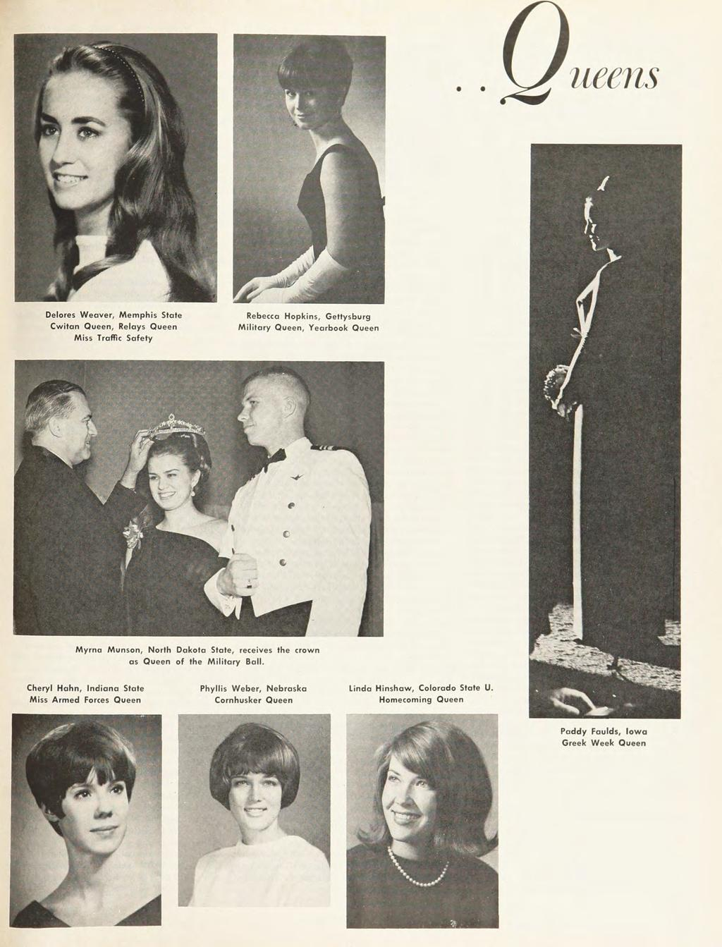 ueens Delores Weaver, Memphis State Cwitan Queen, Relays Queen Miss Traffic Safety Rebecca Hopkins, Gettysburg Military Queen, Yearbook Queen Myrna Munson, North Dakota State, receives the crown as