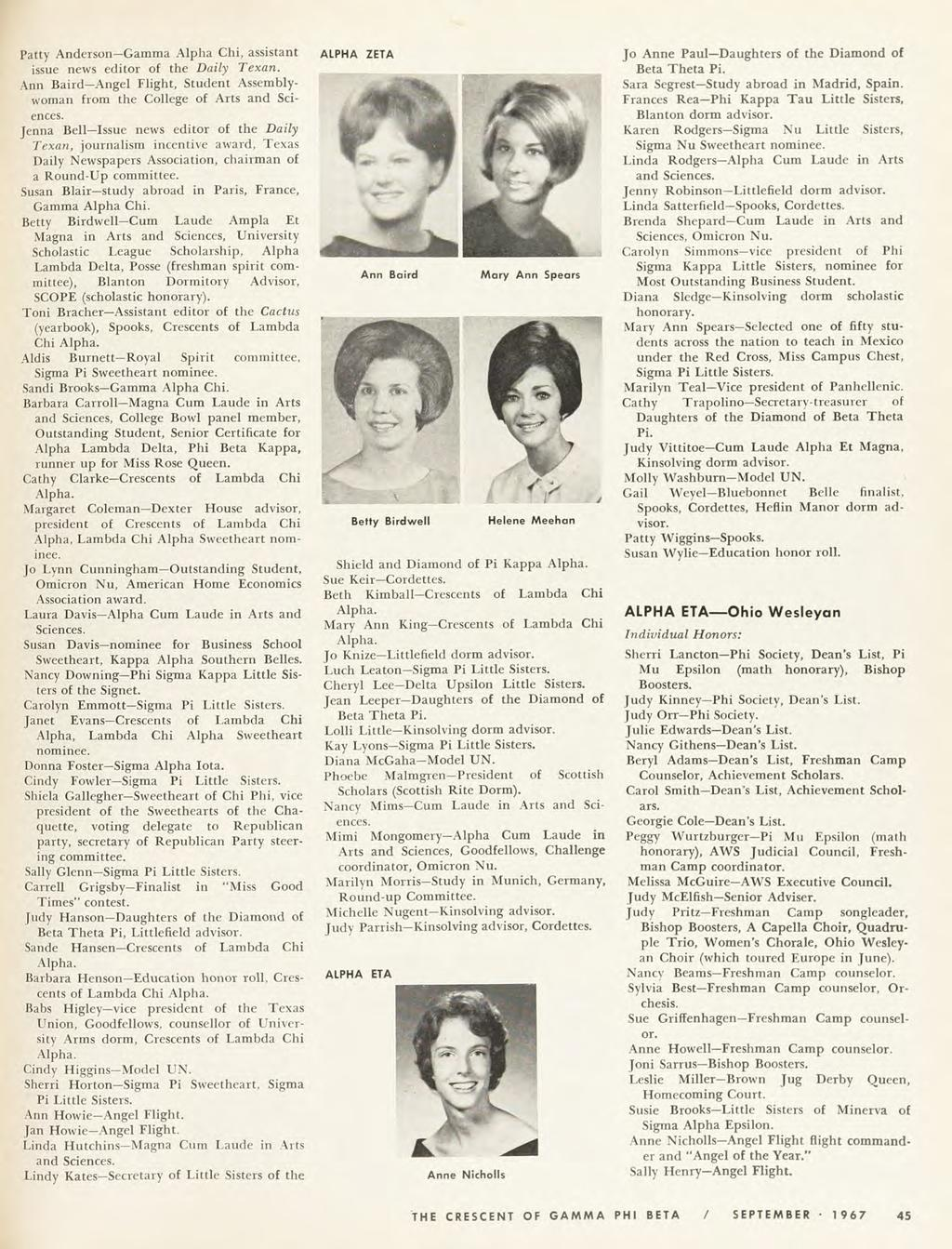 1967 Patty Anderson Gamma Alpha Chi, assistant issue news editor of the Daily Texan. Ann Baird Angel Flight, Student Assembly woman from the College of Arts and Sci ences.