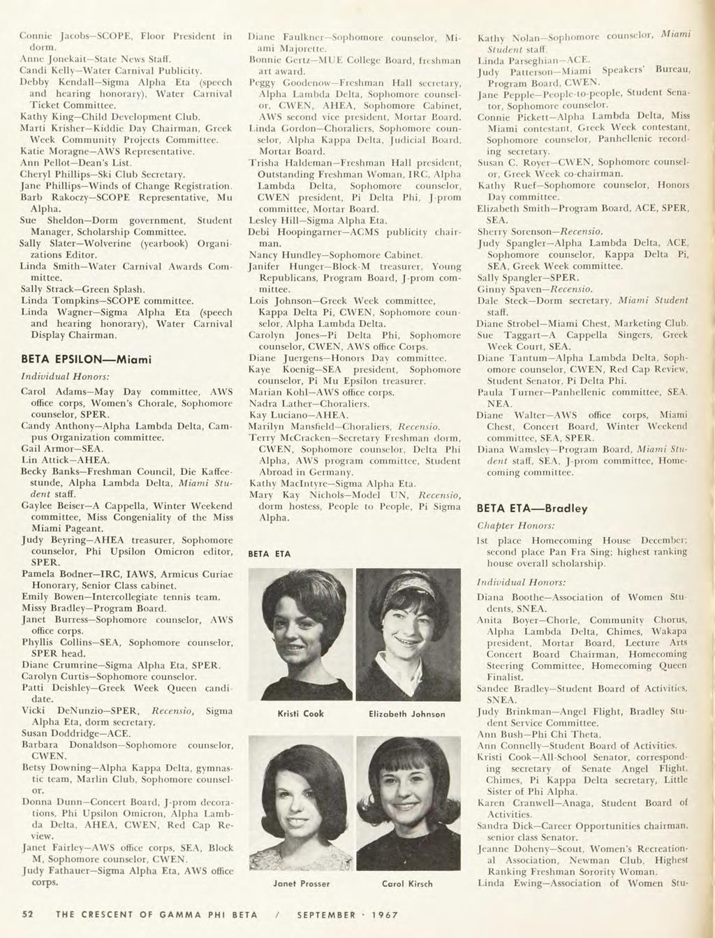 Connie Jacobs SCOPE, Floor President in dorm. Anne Jonekait State News Staff. Candi Kelly Water Carnival Publicity. Debby Kendall Sigma Alpha Eta (speech and hearing honorary).