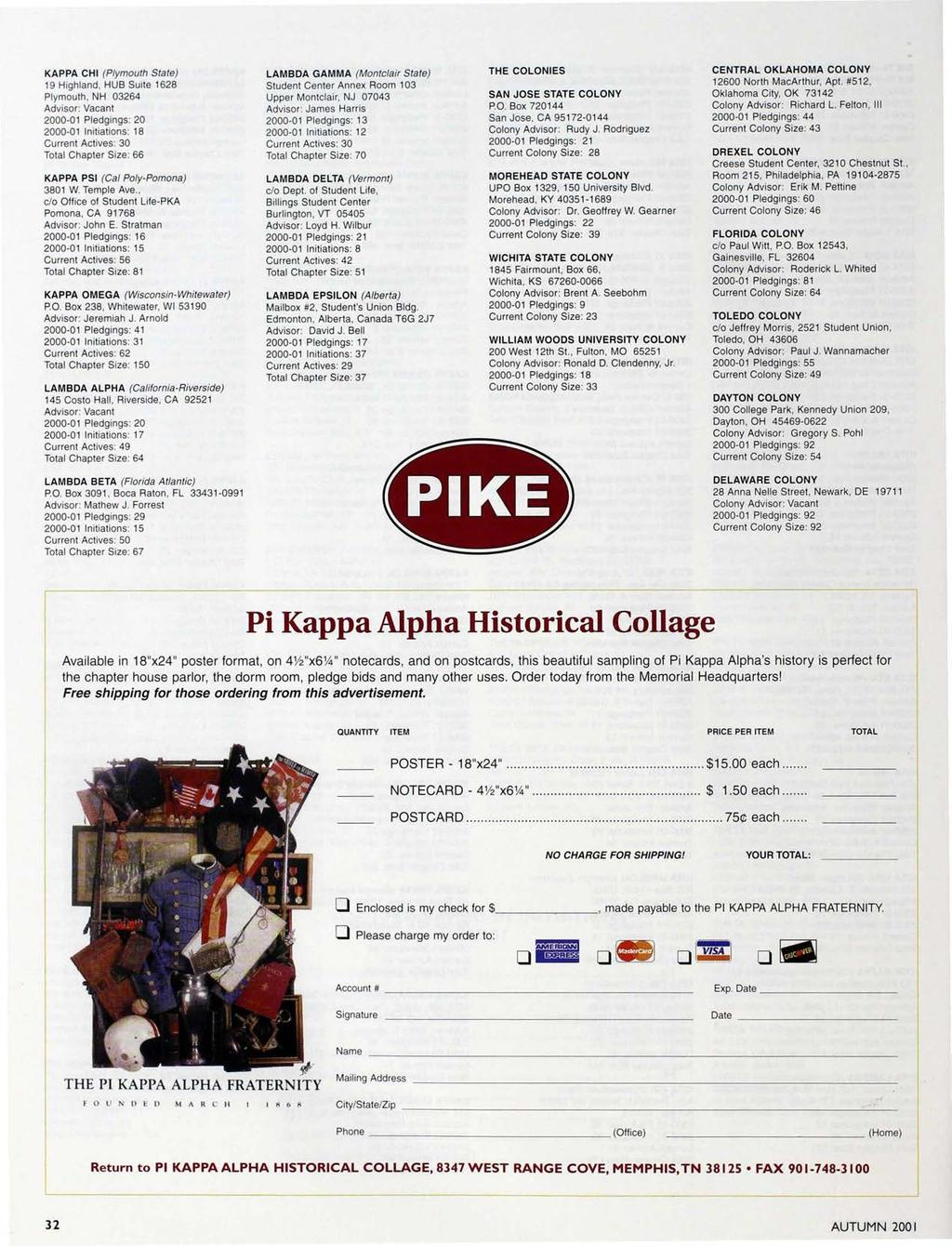 KAPPA CHI (Plymouth State) 19 Highland, HUB Suite 1628 Plymouth, NH 03264 Advisor: Vacant 2000-01 Pledgings: 20 2000-01 Initiations: 18 Current Actives: 30 Total Chapter Size: 66 KAPPA PSI (Cal