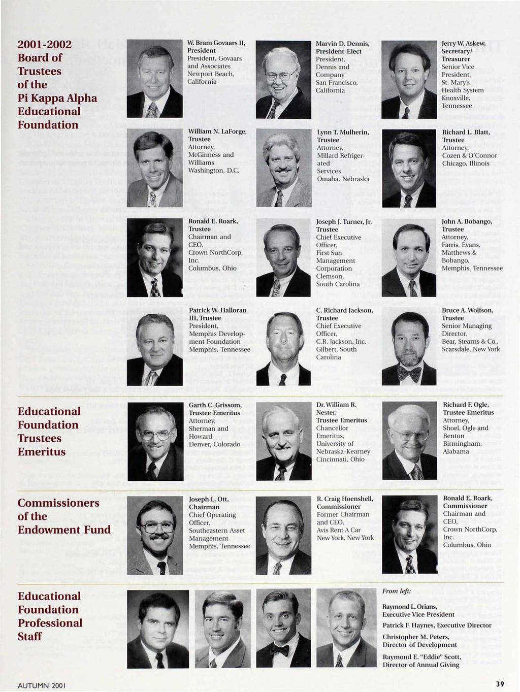 2001-2002 Board of Trustees of the Pi Kappa Alpha Educational Foundation W. Bram Govaars II, President President, Govaars and Associates Newport Beach, California William N.