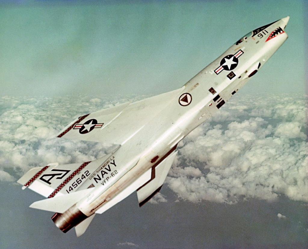 7 NANP NEWS, Issue 1, 2018 A VFP-62 Vought RF-8G Crusader climbs altitude while deployed aboard USS Shangri La during its 1967-68 deployment. U.S. Navy Photo by Lt. Gary Adams.