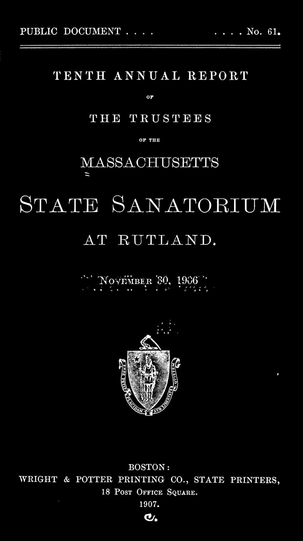 MASSACHUSETTS State Sanatorium AT RUTLAND.