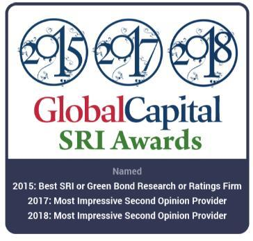 verification of their frameworks. Global Capital named Sustainalytics the Most Impressive Second Party Opinion Provider in 2017.