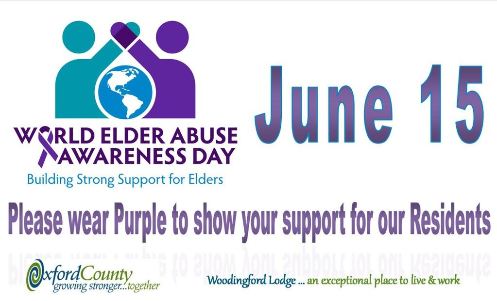Ingersoll and Tillsonburg 10:00 a.m. Chapel Woodstock 1:30 and 3:00 - General Purpose Area Light refreshments provided. Please wear PURPLE in support of our Residents. 4 Facts about BPSO Champions! 1. We have 46 trained champions, who represent all departments of Woodingford Lodge.