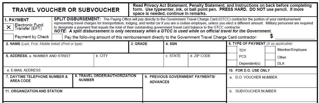 How To Fill Out A Dd Form Travel Voucher Pdf