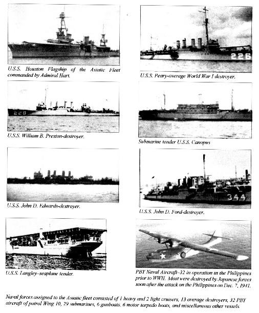 U.S.NAVY ASIATIC FLEET BASED IN MANILA BAY AND CAVITE NAVY YARD Commanded by Admiral C.Hart and Rear Admiral Francis. Rockwell.