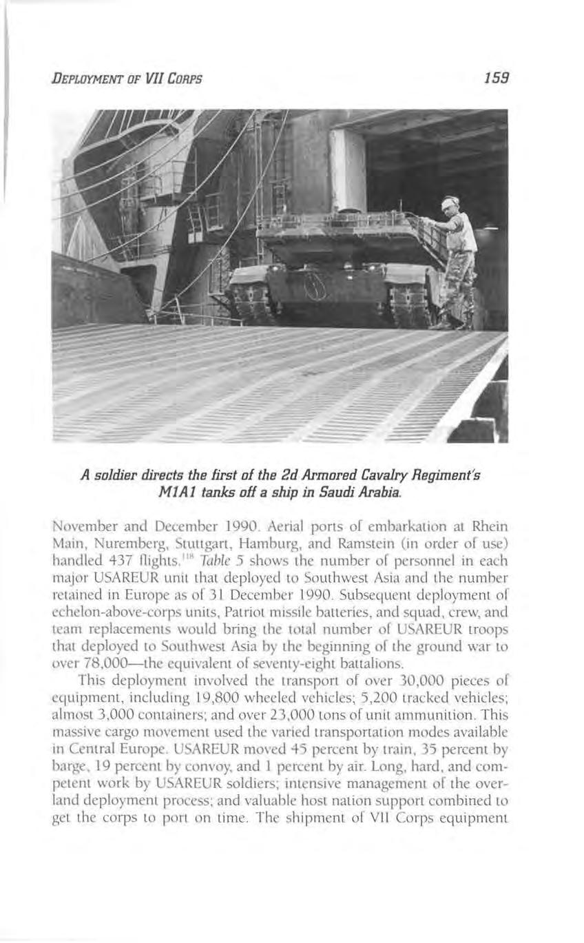 DEPLOYMENT OF VII CORPS 159 A soldier directs the first of the 2d Armored Cavalry Regiment's MJAJ tanks off a ship in Saudi Arabia. \;o\'cmber and December 1990.