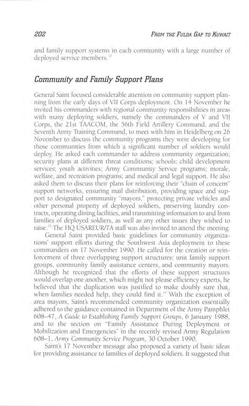 202 FROM THE FULDA GAP TO JfUWAIT and fami ly support systems in each community with a large number of deployed service members.