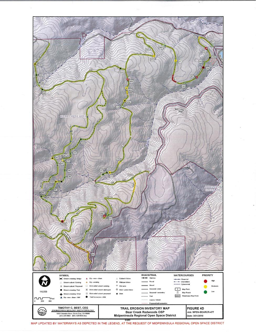 Overview of preserve trails and roads, Webb Creek