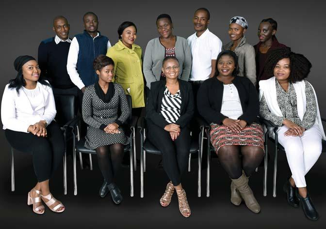 INTERNS Front row left to right: Xolisile Maphalala, Bridgette Makola, Keneilwe Tsoku, Hermina Maubane, Tebogo Nkwane Back row left to right: Sandile Zulu, Sicelo Khoza,