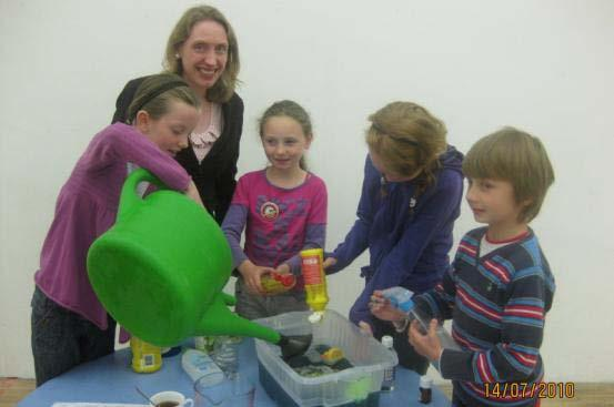Children learn about water pollution at a Summer Camp
