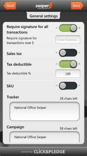 C. Click on Additional Options in the Settings tab, which will take you to all the payment options for the Swiper. D.