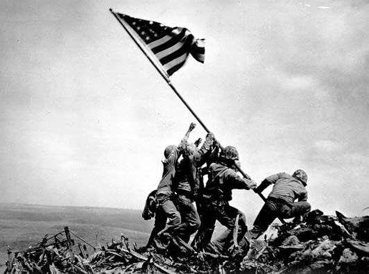 After a month of bitter fighting and heavy losses, American Marines took Iwo Jima, an Island 760 miles from Tokyo.