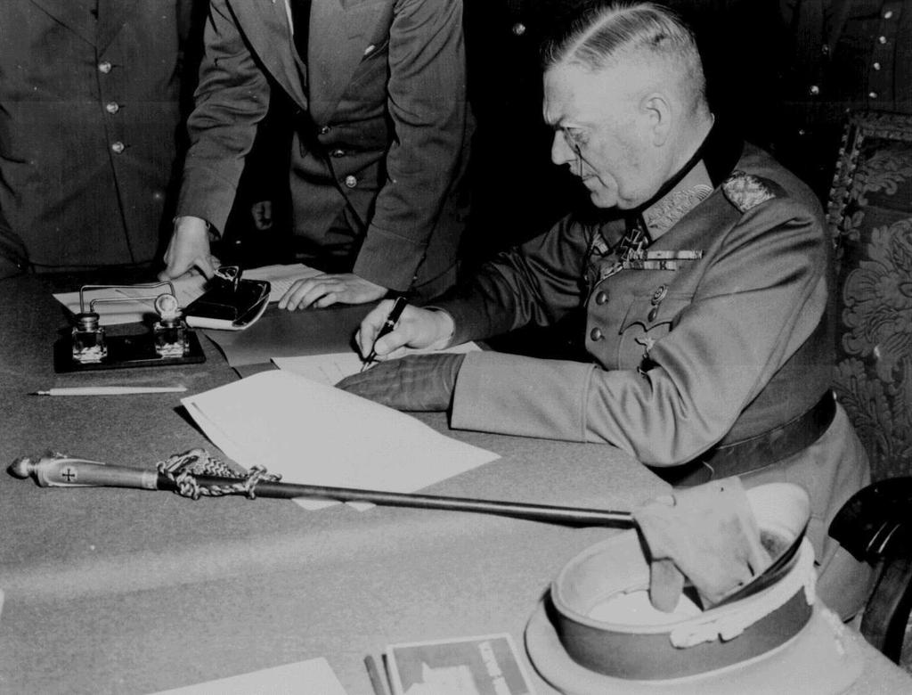 German surrender May 7, 1945, German surrender ends WWII in Europe.