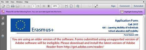 If you are using a different version than the above mentioned ones you will not be able to properly use the form and will be confronted with the following screen: Incompatible Readers Adobe Reader