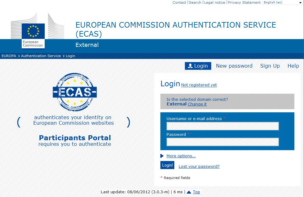 Log in with the European Commission Authentication