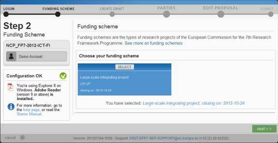 Step 2: Change the Funding Scheme If needed, you have the possibility to change the funding scheme