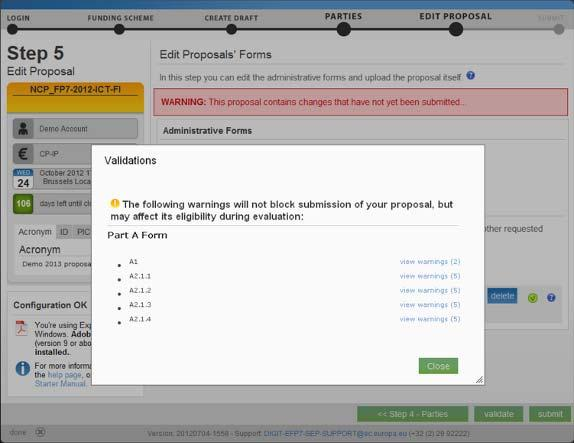 Step 5: Validation Click on the 'Validate' button to check for potential errors in