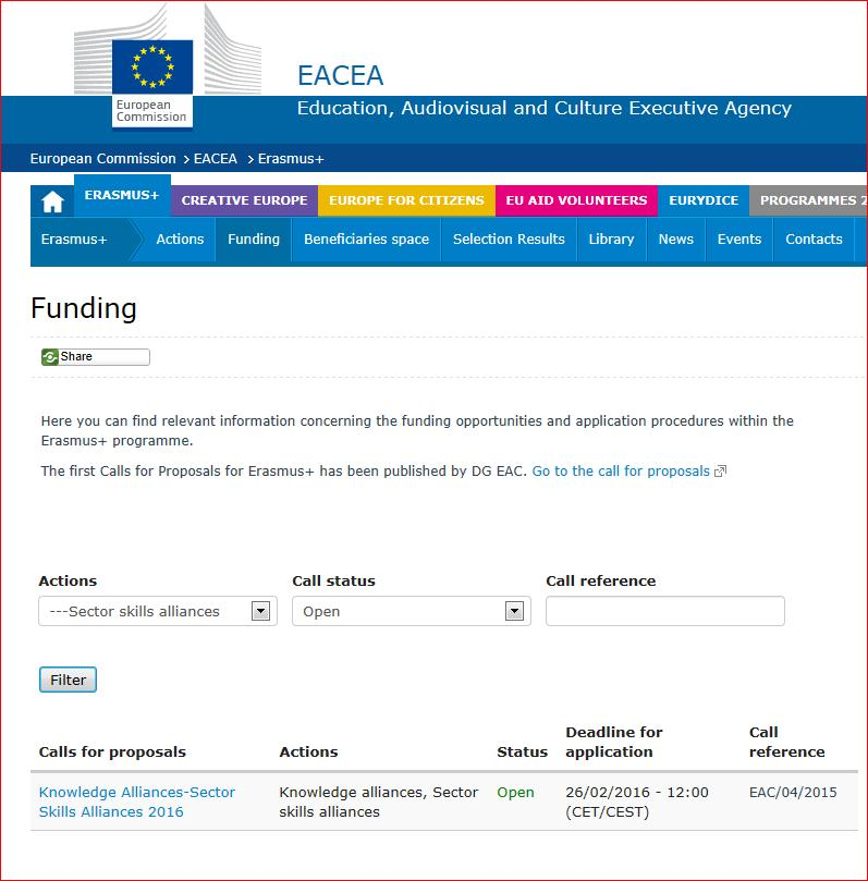 Step 2 Locate key information Education, Audiovisual and Culture Executive Agency (EACEA)
