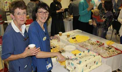 UL Hospitals Group Annual Review 2016 November Lactation consultants Margaret Hynes and Margaret O Leary, UMHL, cut the cake to celebrate the Baby Friendly Hospital award.