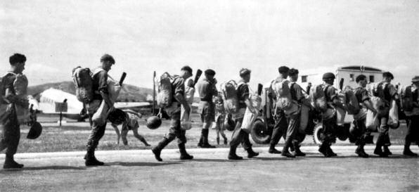 Men of 22 SAS move out for Operation 'Termite' - the largest parachute operation by the SAS during the Emergency, 8 July 1954.