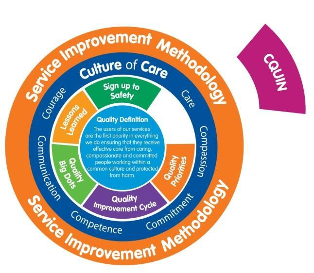 CQUIN (Commissioning for Quality and Innovation) The CQUIN framework is a national framework for locally-agreed schemes, set by Clinical Commissioning Groups (CCGs) to improve quality and efficiency.