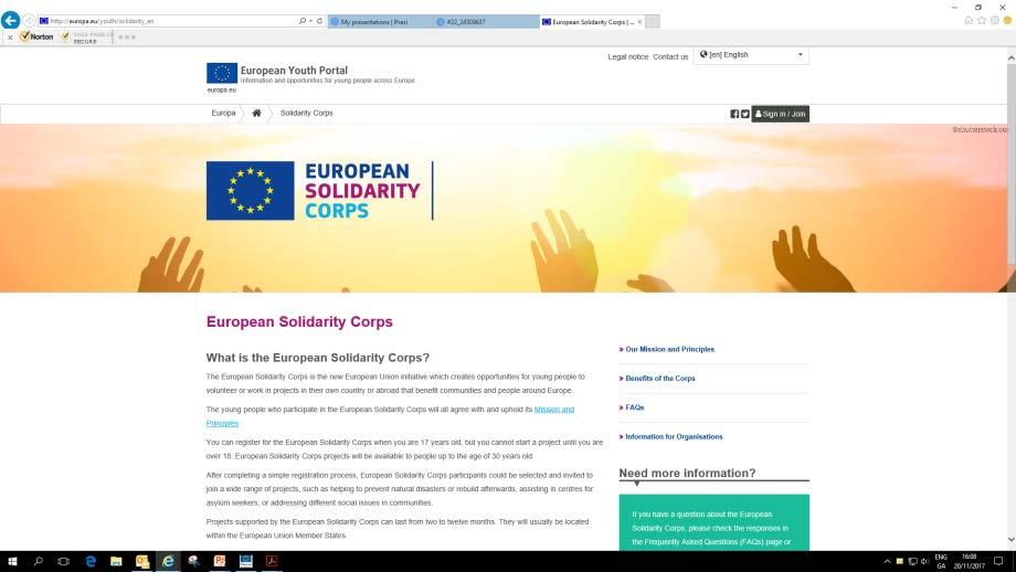 ESC Web Portal- Volunteer Volunteers apply by registering online at https://europa.