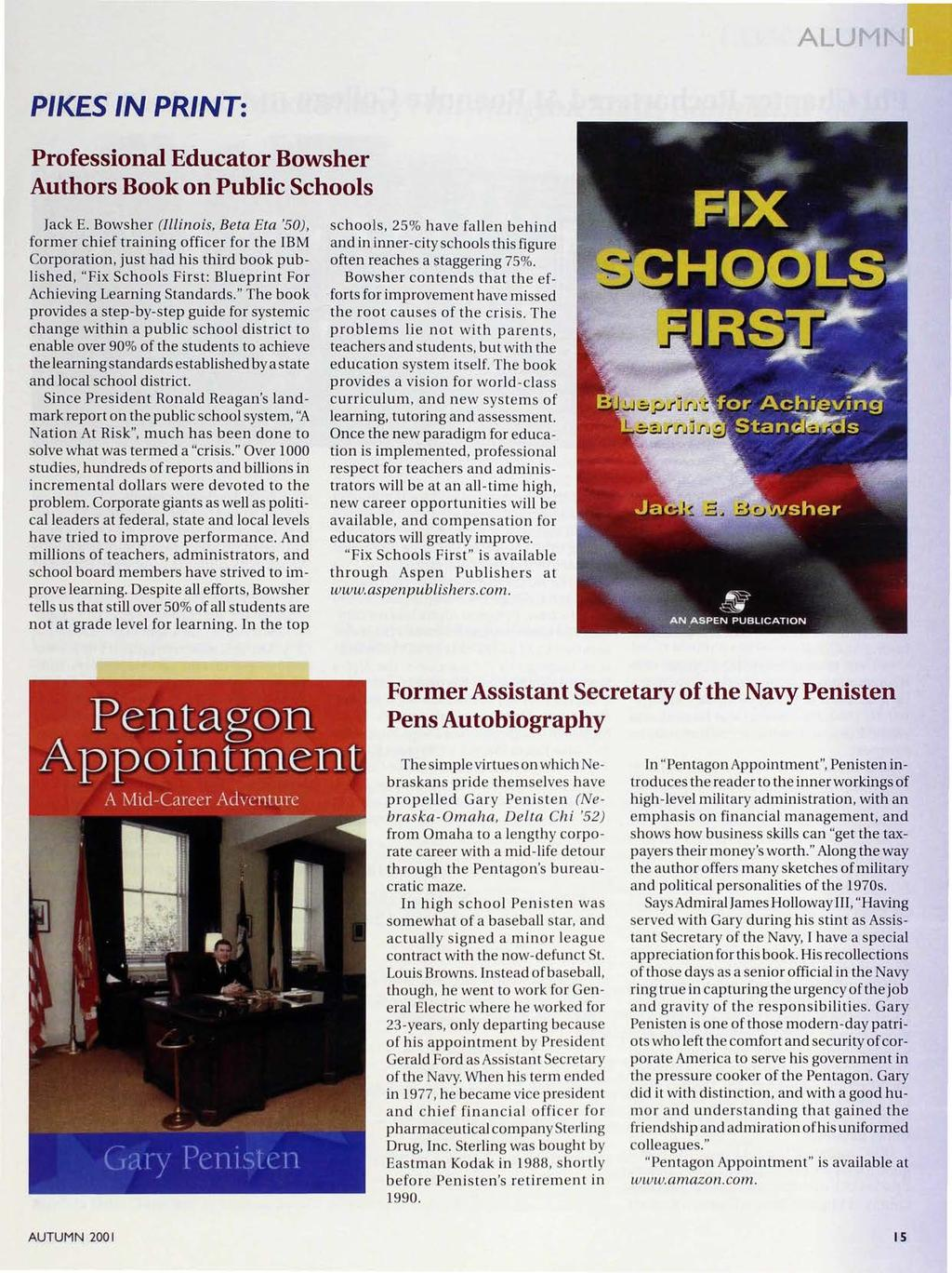 PIKE.S IN PRINT: Professional Educator Bowsher Authors Book on Public Schools Jack E.
